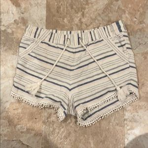 Fabric shorts with drawstring